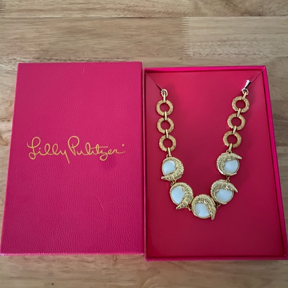Gold Lilly Pulitzer Gator necklace
